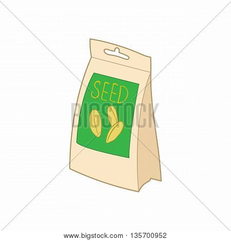 Paper bag with seeds icon in cartoon style on a white background