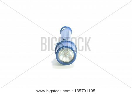 Isolated blue flashlight or torch on white background