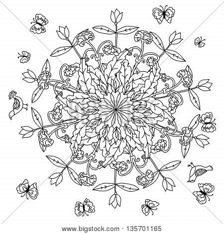mandala shaped contoured flowers, leaves and birds for adult coloring book in zen art style for anti stress drawing. Hand-drawn, retro, doodle, vector, black and white, for coloring book or poster