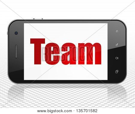 Finance concept: Smartphone with red text Team on display, 3D rendering