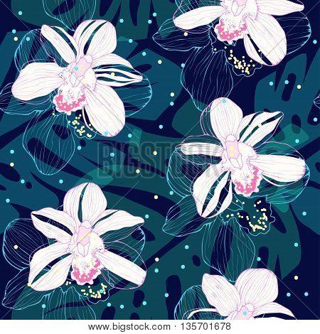 tropical pattern with white orchids, vector seamless pattern with orchids and palm leaves