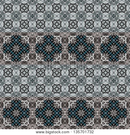 Kaleidoscope seamless pattern in grey tones. Abstract vector background.