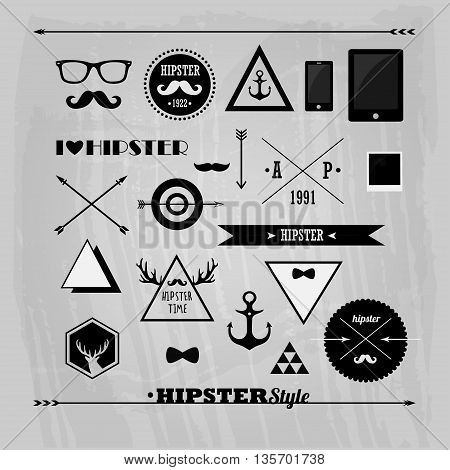 set of vector badges, hipster logos and objects