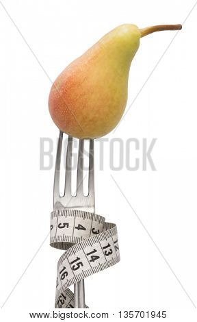 pear  on the fork, diet concept
