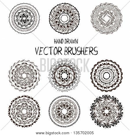 Vector set of  hand drawn brushes. Pattern of different colors for frames, borders and design elements.  Brushes are included in eps.