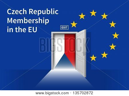 Flag of the Czech Republic and the European Union. Czech Republic Flag and EU Flag. Abstract Czech Republic exit in a wall