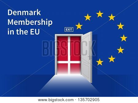 Flag of the Denmark and the European Union. Denmark Flag and EU Flag. Abstract Denmark exit in a wall