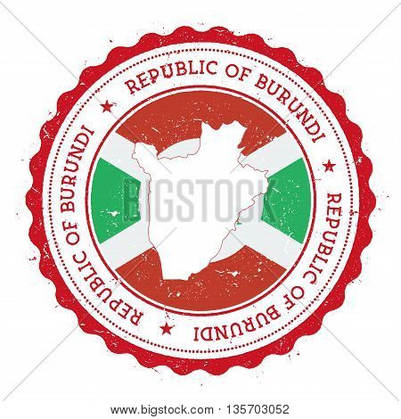 Burundi Map And Flag In Vintage Rubber Stamp Of State Colours. Grungy Travel Stamp With Map And Flag