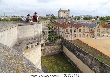 PARIS, FRANCE - MAY 15, 2015: This is an area of Vincennes Castle with a height of the medieval donjon.