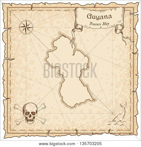 Guyana Old Pirate Map. Sepia Engraved Template Of Treasure Map. Stylized Pirate Map On Vintage Paper