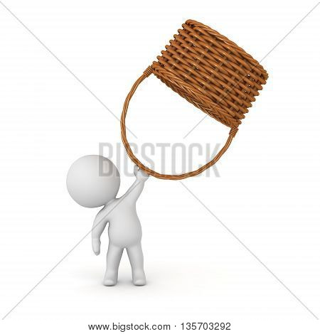3D character holding up a large wicker weaved basket. Isolated on white background.