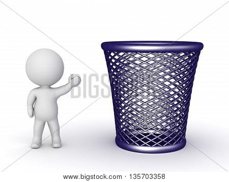 3D character showing a large empty trash basket. Isolated on white background.