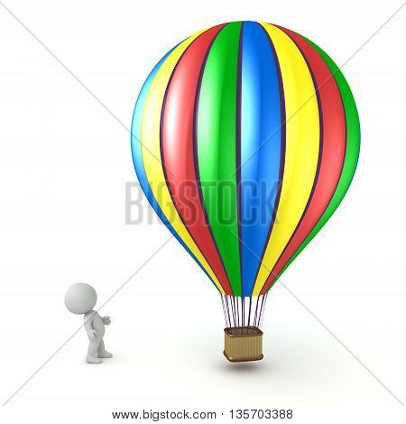 Small 3D character looking up at a large colorful hot air balloon. Isolated on white background.
