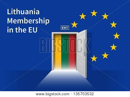 Flag of the Lithuania and the European Union. Lithuania Flag and EU Flag. Abstract Lithuania exit in a wall