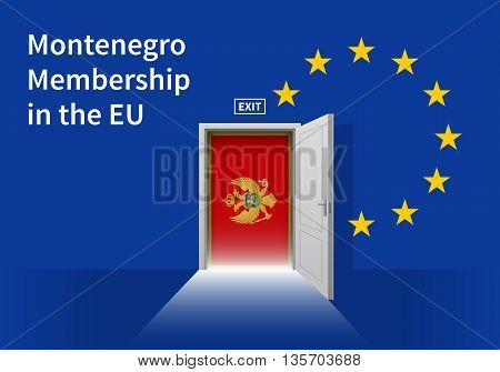 Flag of the Montenegro and the European Union. Montenegro Flag and EU Flag. Abstract Montenegro exit in a wall