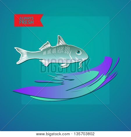 Vector illustration seafood themed with fish, wave and label always fresh on blue background.