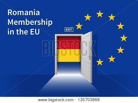 Flag of the Romania and the European Union. Romania Flag and EU Flag. Abstract Romania exit in a wall