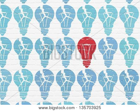 Finance concept: rows of Painted blue light bulb icons around red light bulb icon on White Brick wall background