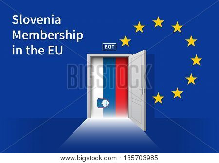 Flag of the Slovenia and the European Union. Slovenia Flag and EU Flag. Abstract Slovenia exit in a wall