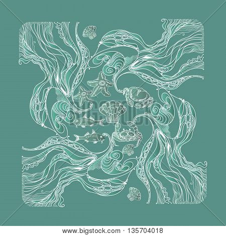 Vector vintage marine pattern with fishes, crabs, shells, starfish and algae on aquamarine background. Line art floral  ornament.