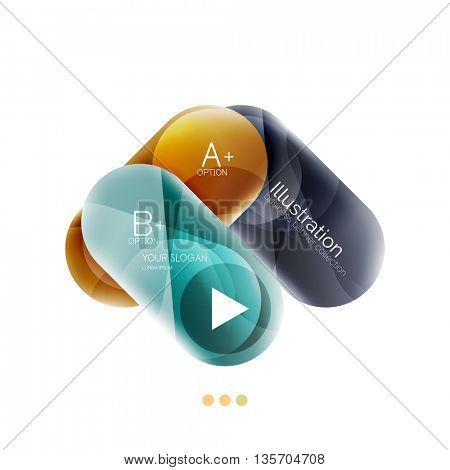 Colorful round rectangles concept, business infographics. Vector option banner with text and button