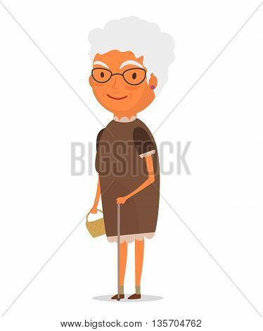 Smiling gray-haired old lady with a cane and a bag standing in a brown dress. White background . Vector illustration. EPS 10