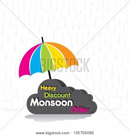 Heavy discount monsoon offer poster design vector
