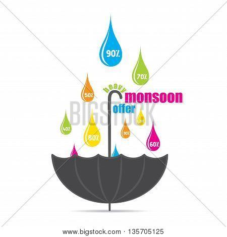 heavy  monsoon offer promotional banner design vector