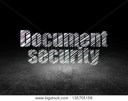 Privacy concept: Glowing text Document Security in grunge dark room with Dirty Floor, black background