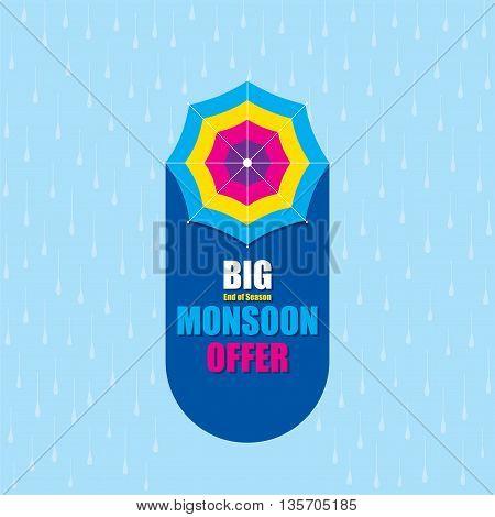 creative big monsoon offer banner design vector