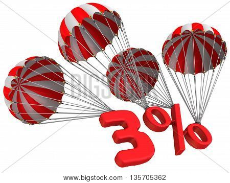 Three percent is falling down on parachute. Isolated. 3D Illustration