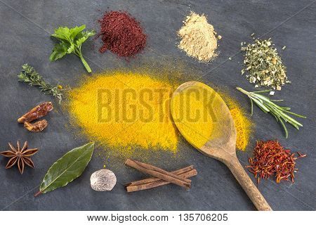 Spice Herbs and spices powder selection on slate
