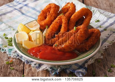 Spicy Fried Calamari Rings With Ketchup And Lemon On A Plate. Horizontal