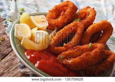 Fried Calamari Rings Close Up With Ketchup And Lemon. Horizontal