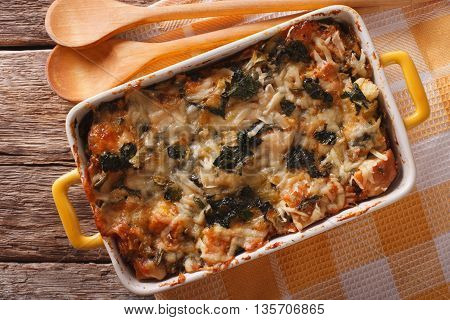 Strata Casserole With Spinach, Cheese And Bread Close Up. Horizontal Top View