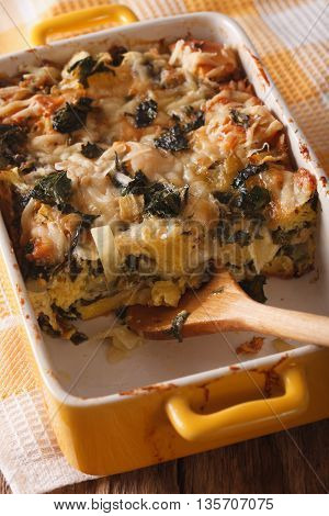 Strata Casserole With Spinach Close Up. Vertical