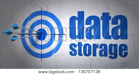 Success Data concept: arrows hitting the center of target, Blue Data Storage on wall background, 3D rendering