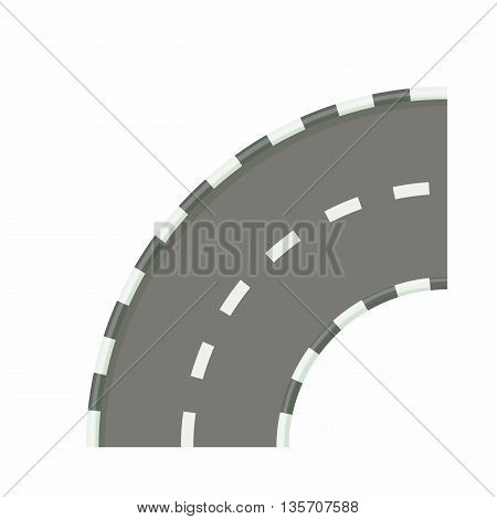 Road bend icon in cartoon style on a white background