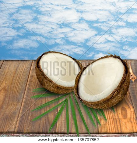 fruits of coconuts and desk of free space