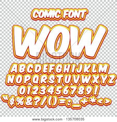 Alphabet in the style of comics, pop art. Letters and figures for decoration of kids' illustrations, websites, posters