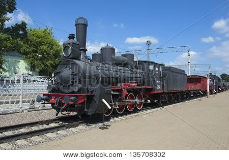 MOSCOW, RUSSIA - JUNE 23, 2016: Museum of Railway Transport of the Moscow railway locomotive Ov 841 first steam locomotive has become the main locomotive in the park of the Russian railways 1903