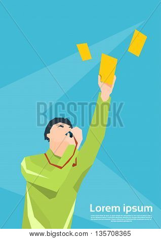 Football Referee Whistle Show Yellow Card Flat Vector Illustration