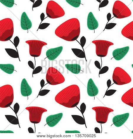 Seamless poppy flower pattern. Vector floral background