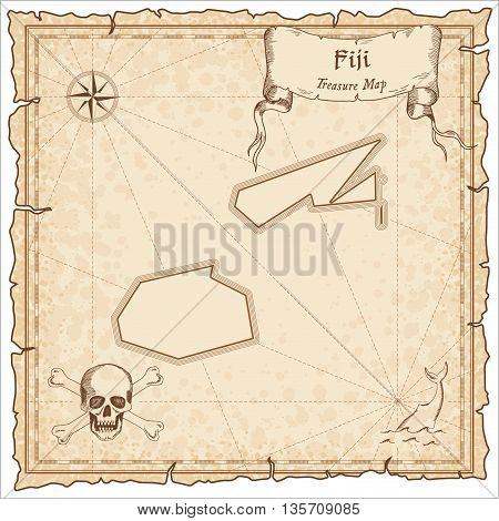 Fiji Old Pirate Map. Sepia Engraved Template Of Treasure Map. Stylized Pirate Map On Vintage Paper.