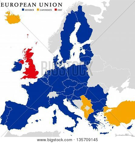 European Union Brexit. Outline political map with European Union member states, candidates and British withdrawal from the European Union, shortened to Brexit. English labeling and scaling.