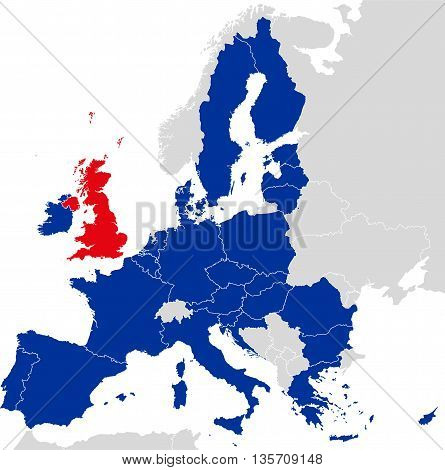 Brexit European Union map. Outline political map with European Union member states and British withdrawal from the European Union, shortened to Brexit. English labeling and scaling.