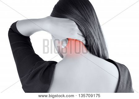 woman having pain in the back and neckPain in the back