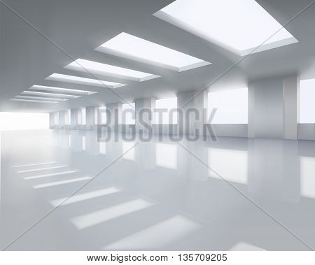 Sunlit large hall. Vector illustration.