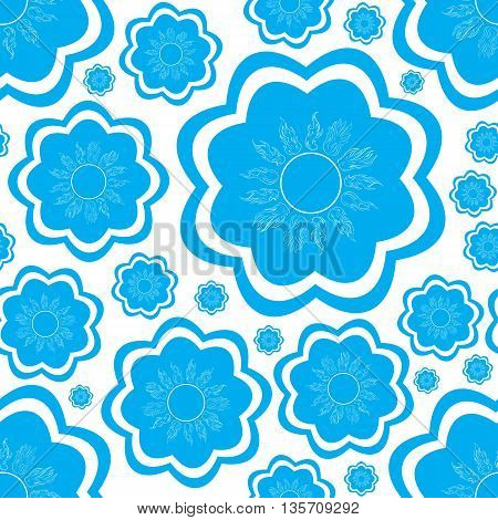 Seamless texture with blue icons with sun symbols