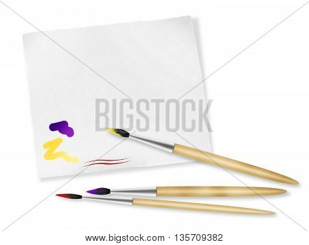 Art brushes and sheet white paper for sketch